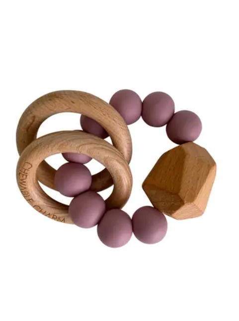 Silicone + Wood Teether Ring - Elegant Mommy