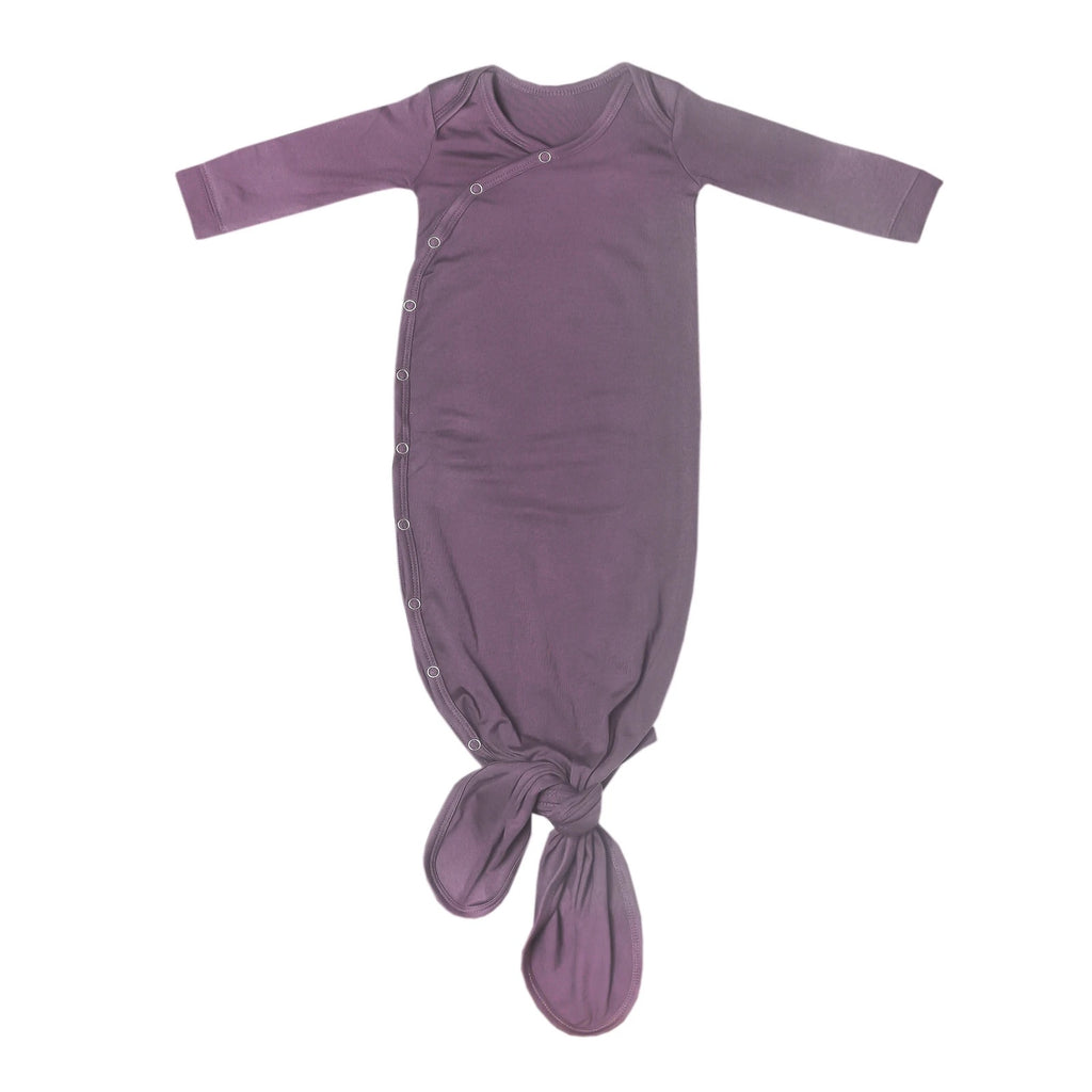 Plum Newborn Knotted Gown - Elegant Mommy