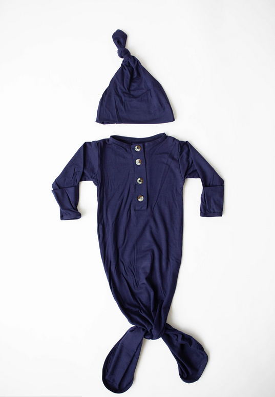 Navy Blue Knotted Gown + Hat 0-3M - Elegant Mommy