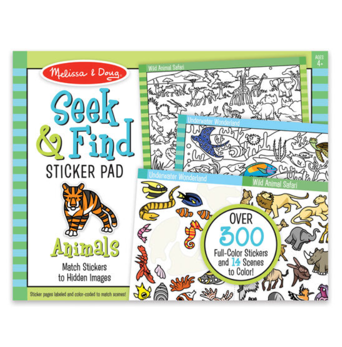 Animals Seek + Find Sticker Pad - Elegant Mommy