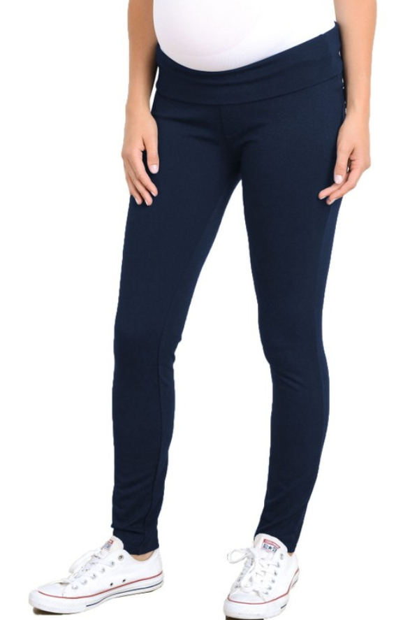 Navy Skinny Maternity Leggings - Elegant Mommy