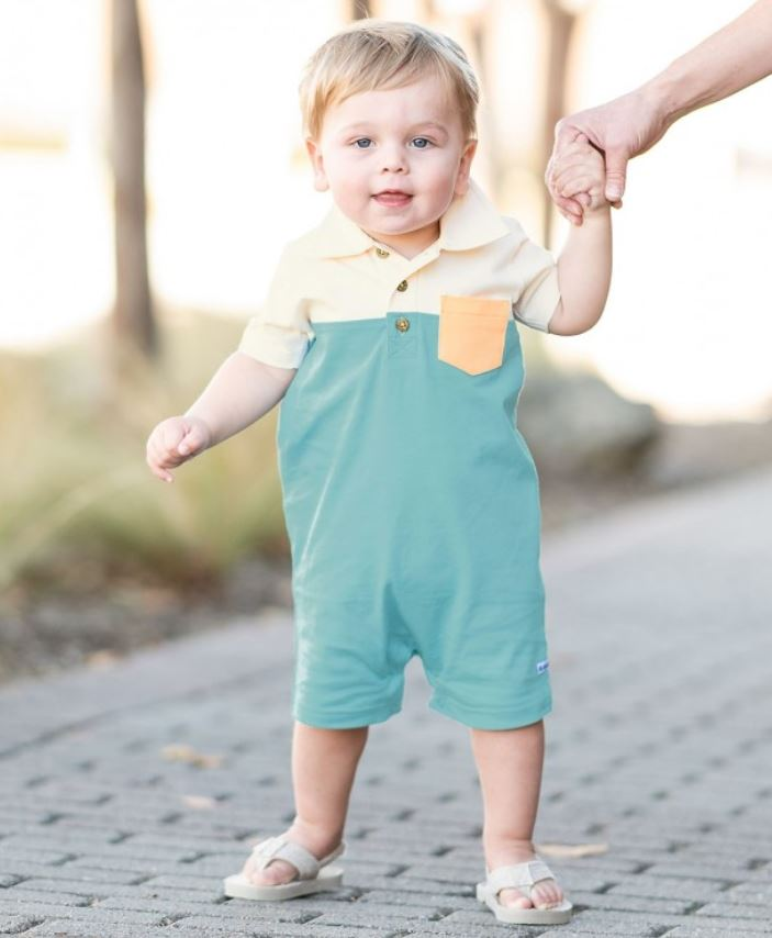 Marine Blue Color Block Polo Romper (0-3M to 12-18M) - Elegant Mommy
