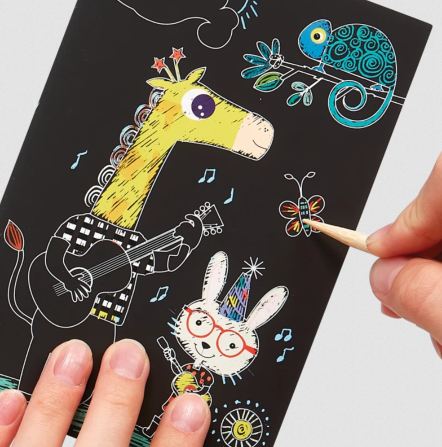 Safari Party Scratch and Scribble Mini Scratch Art Kit - Elegant Mommy