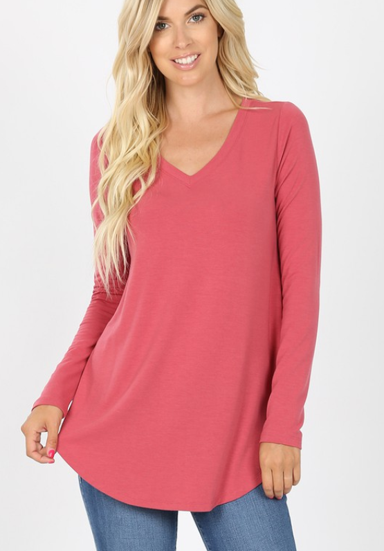 Aria V-Neck - Rose - Elegant Mommy