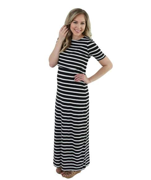 Undercover Mama Nursing Dress Bold Stripe - Elegant Mommy