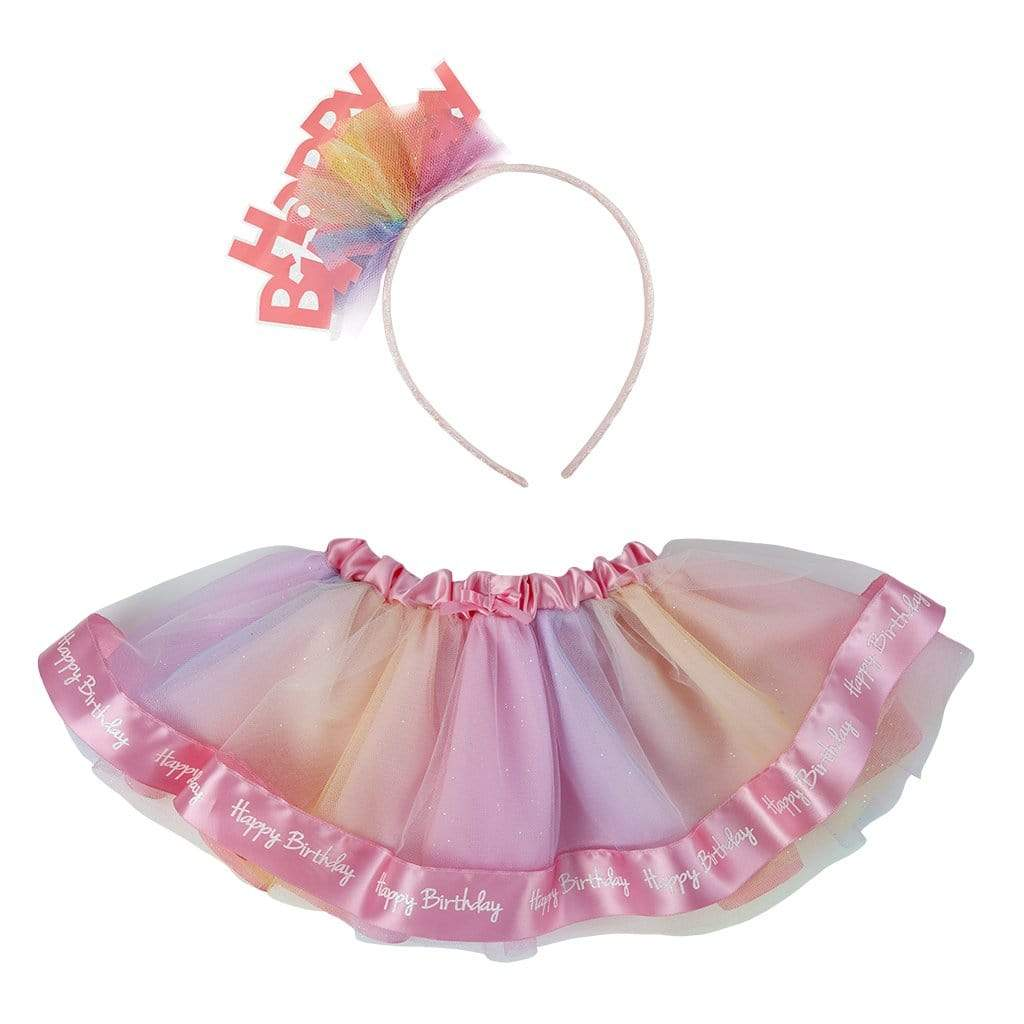 Happy Birthday Tutu With Headband, Size 12-24M - Elegant Mommy
