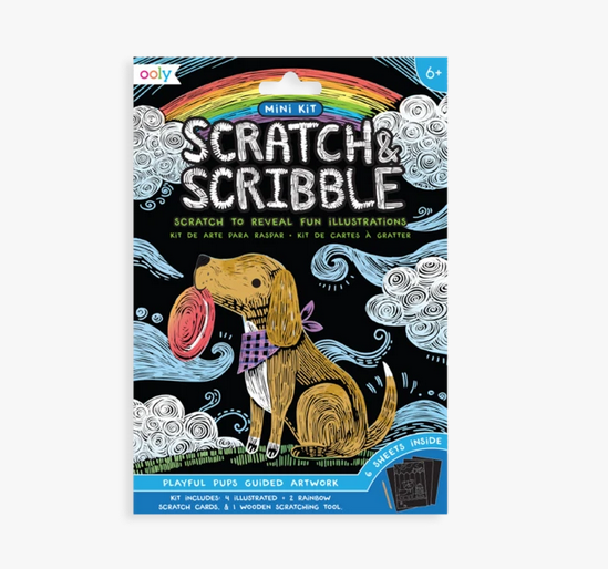 Playful Pups Scratch and Scribble Mini Scratch Art Kit - Elegant Mommy