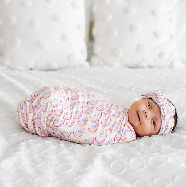 LS Pastel Rainbows Swaddle + Headband - Elegant Mommy