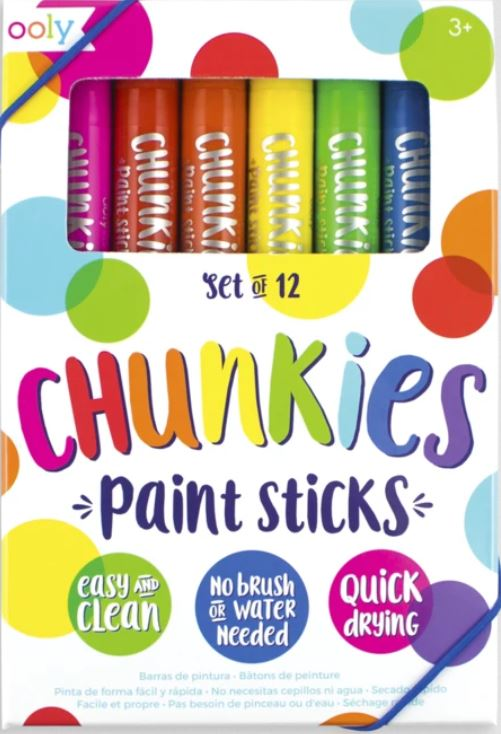 OOLY, Giftable Chunkies Paint Sticks, No Brush or Water Needed - Set of 12 - Elegant Mommy