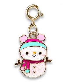 Gold Swivel Snowman Charm - Elegant Mommy