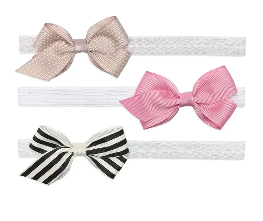Paris Baby 3 Pack Baby Bow Headbands - Elegant Mommy