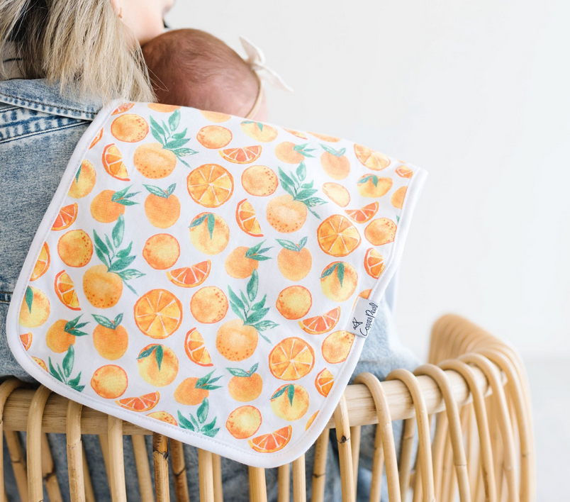 Copper Pearl Citrus Burp Cloths - Elegant Mommy