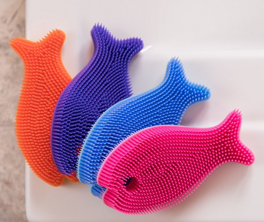 Silicone Fish Antimicrobial Bath Scrub for Babies and Toddlers - Elegant Mommy