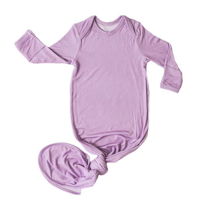 Little Sleepies Wisteria Bamboo Viscose Infant Knotted Gown - Elegant Mommy