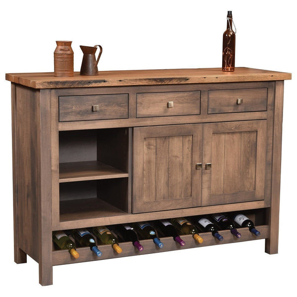 Amish Adele Reclaimed Top & Wine Cabinet Buffet