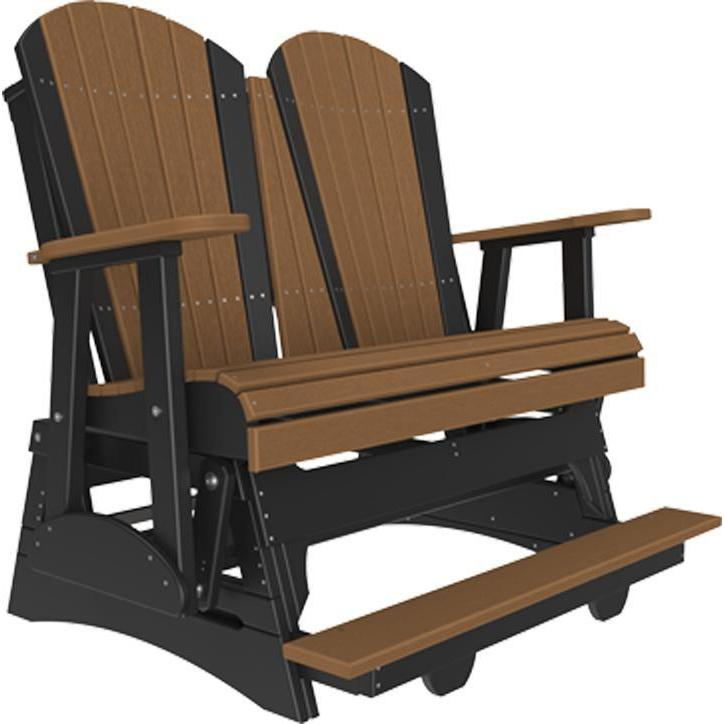 4' Adirondack Balcony Glider Antique Mahogany Black-The Amish House