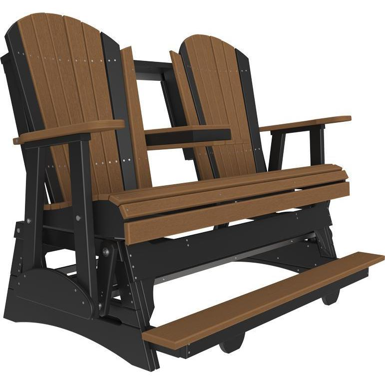 5' Adirondack Balcony Glider Antique Mahogany & Black-The Amish House