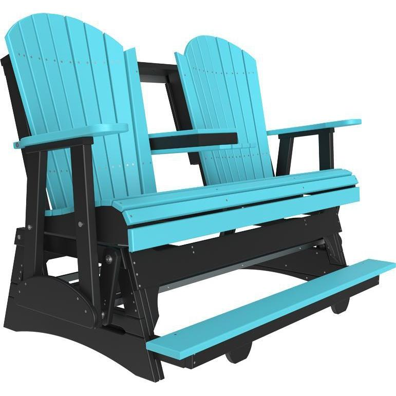 5' Adirondack Balcony Glider Aruba Blue & Black-The Amish House