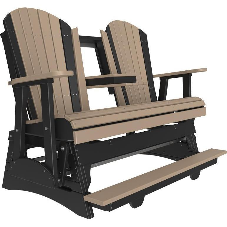 5' Adirondack Balcony Glider Weatherwood & Black-The Amish House