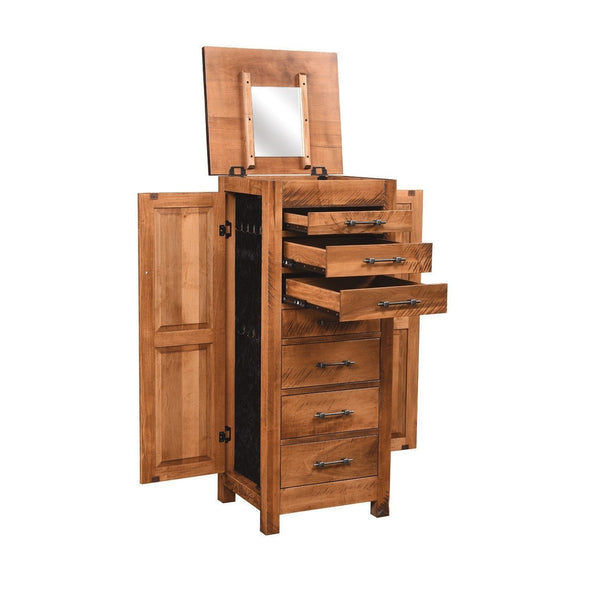 Alpine Rough Sawn Jewelry Armoire-Bedroom-The Amish House