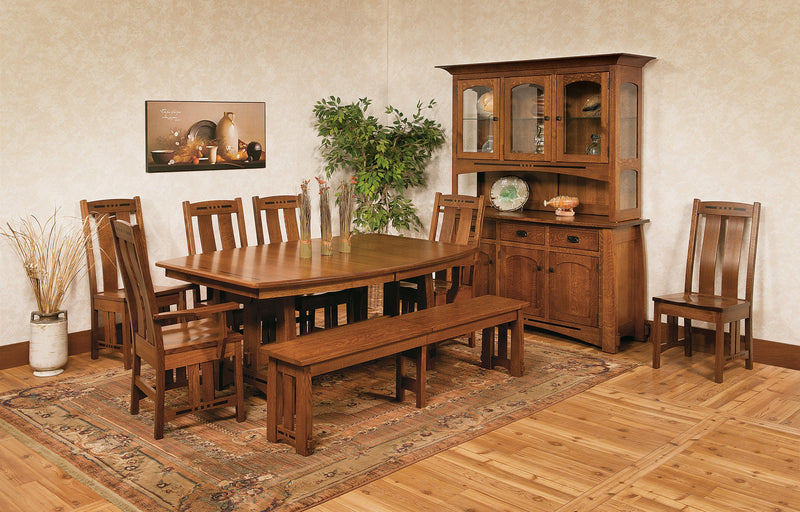 Celina Trestle Table with Hutch and chairs