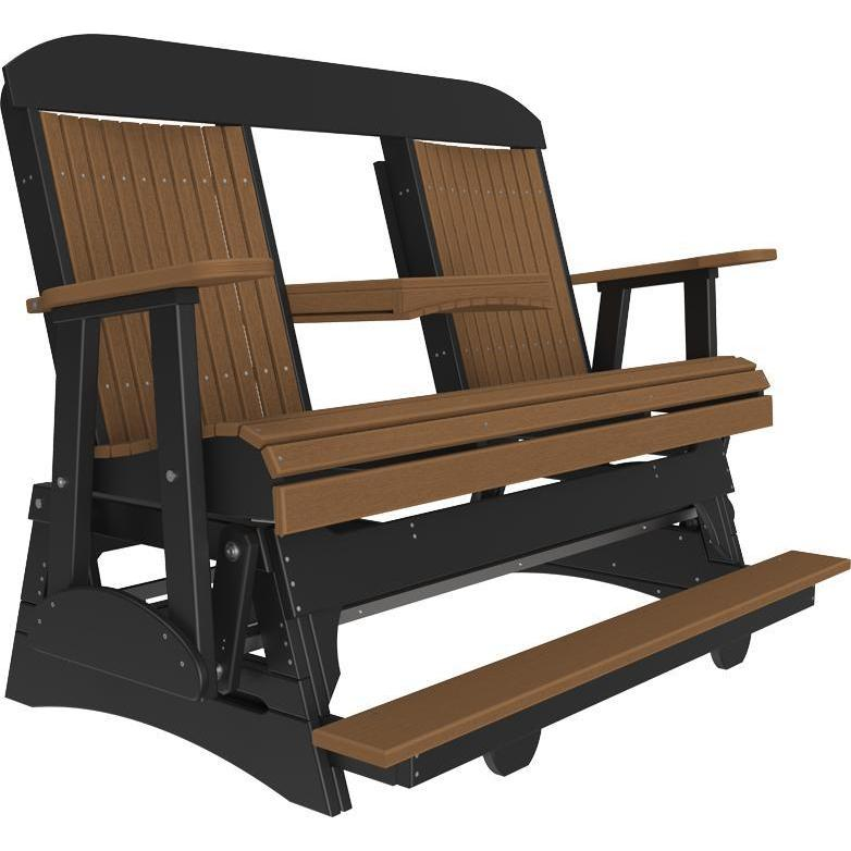 5' Classic Balcony Glider Antique Mahogany & Black-The Amish House