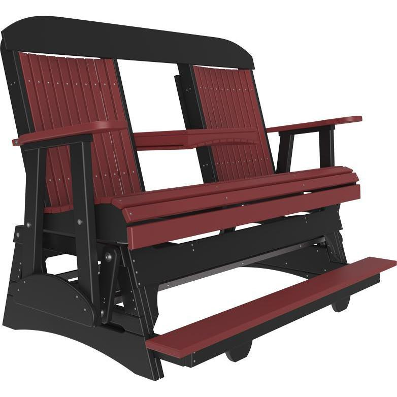 5' Classic Balcony Glider Cherrywood & Black-The Amish House