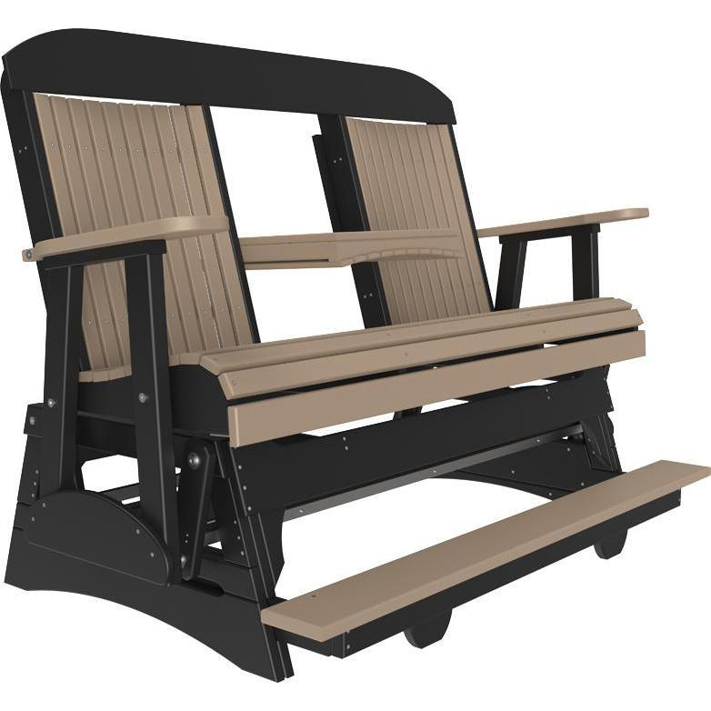5' Classic Balcony Glider Weatherwood & Black-The Amish House
