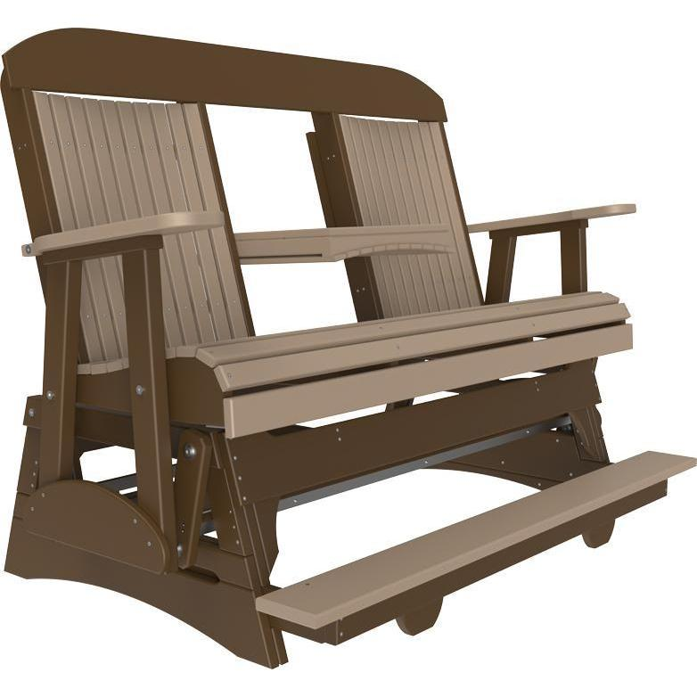 5' Classic Balcony Glider Weatherwood & Chestnut Brown-The Amish House