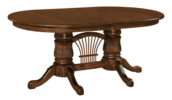 Fluted Double Pedestal Table-The Amish House