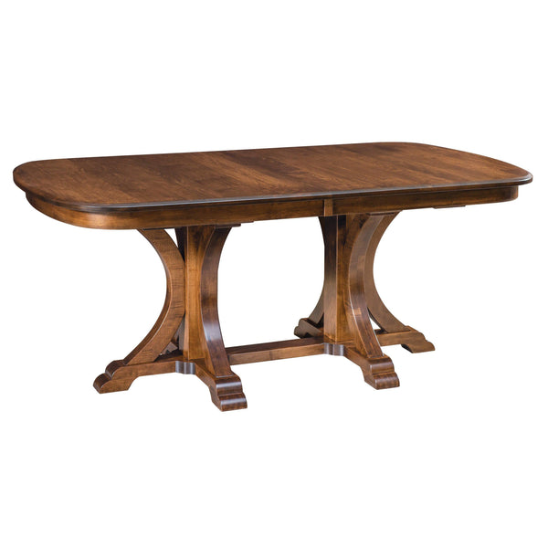 Amish Granite Double Pedestal Table-The Amish House