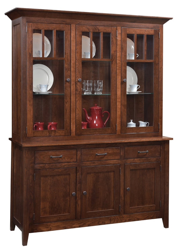 Amish Larkspur Full Glass Three Door Hutch