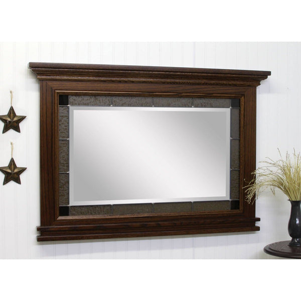 Large Brooklyn Shaker Granite Leaded Glass Wall Mirror