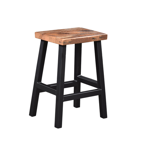Amish Metal Base Barnwood Bar Stool