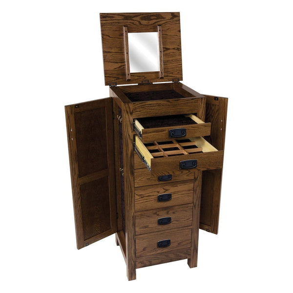 Oak Mission Jewelry Armoire-Bedroom-The Amish House