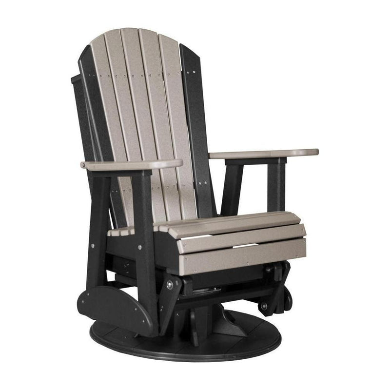 Adirondack Swivel Glider Weatherwood & Black
