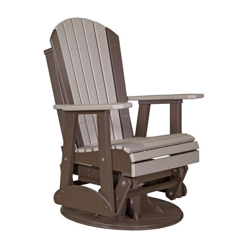 Adirondack Swivel Glider Weatherwood & Chestnut Brown