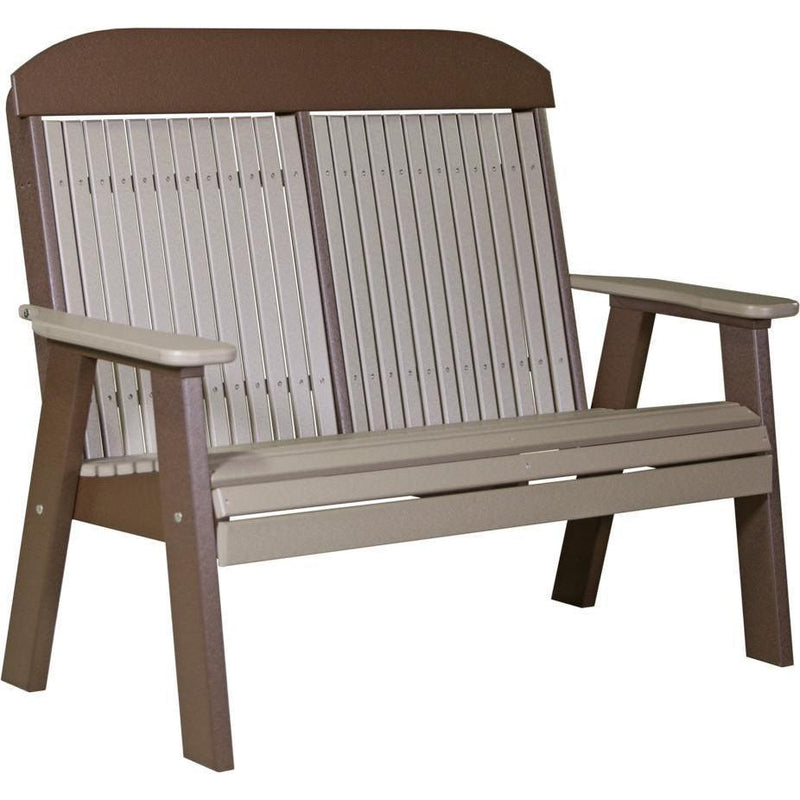 Classic Outdoor 4' Bench Weatherwood & Chestnut Brown