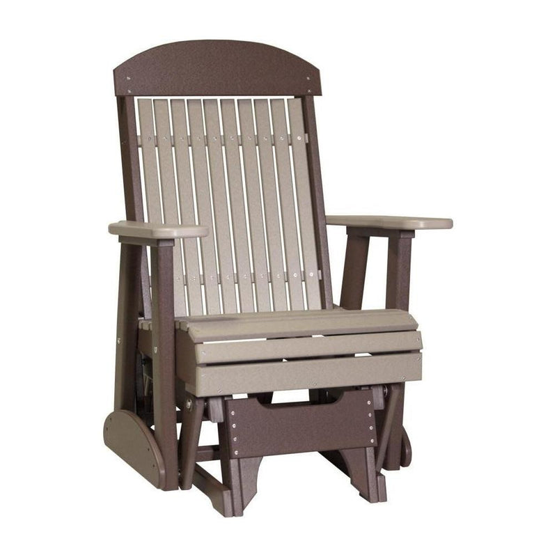 Classic Adirondack Glider Weatherwood & Chestnut Brown