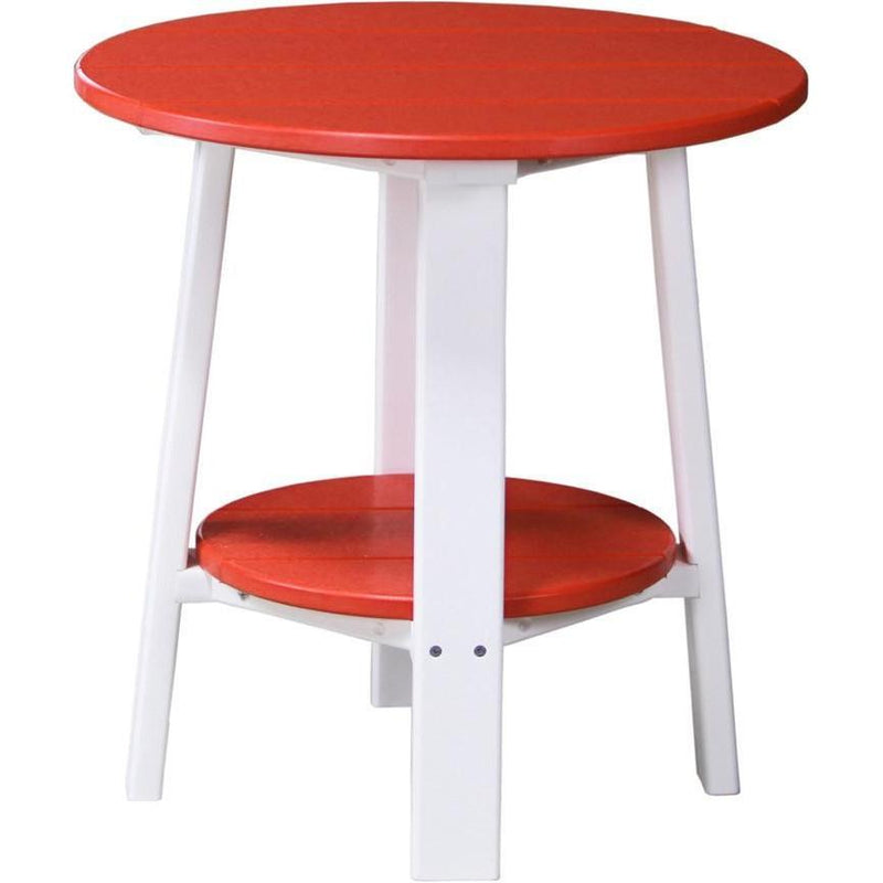 Outdoor Deluxe End Table Red & White