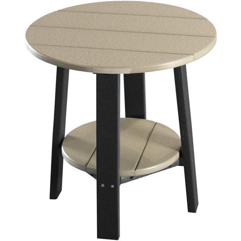 Outdoor Deluxe End Table Weatherwood & Black