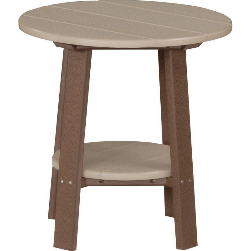 Outdoor Deluxe End Table Weatherwood & Chestnut Brown
