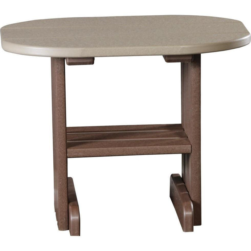 Outdoor End Table Weatherwood & Chestnut Brown