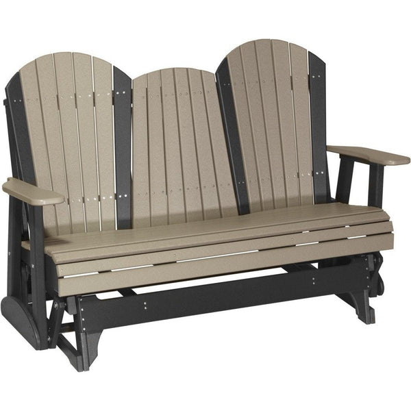 5' Adirondack Glider Weatherwood & Black