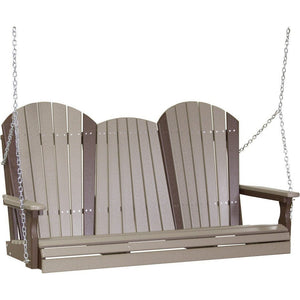 5' Adirondack Swing Weatherwood & Chestnut Brown