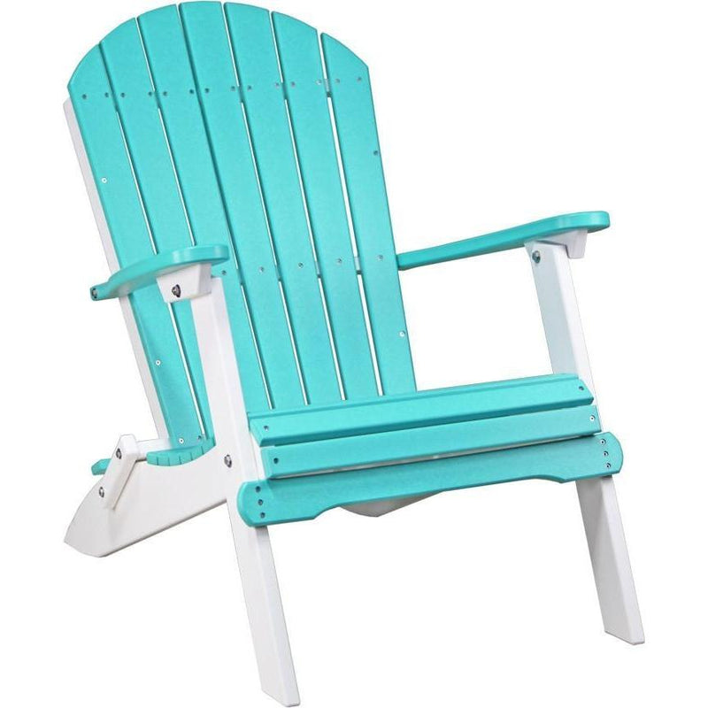Folding Adirondack Chair Aruba Blue & White