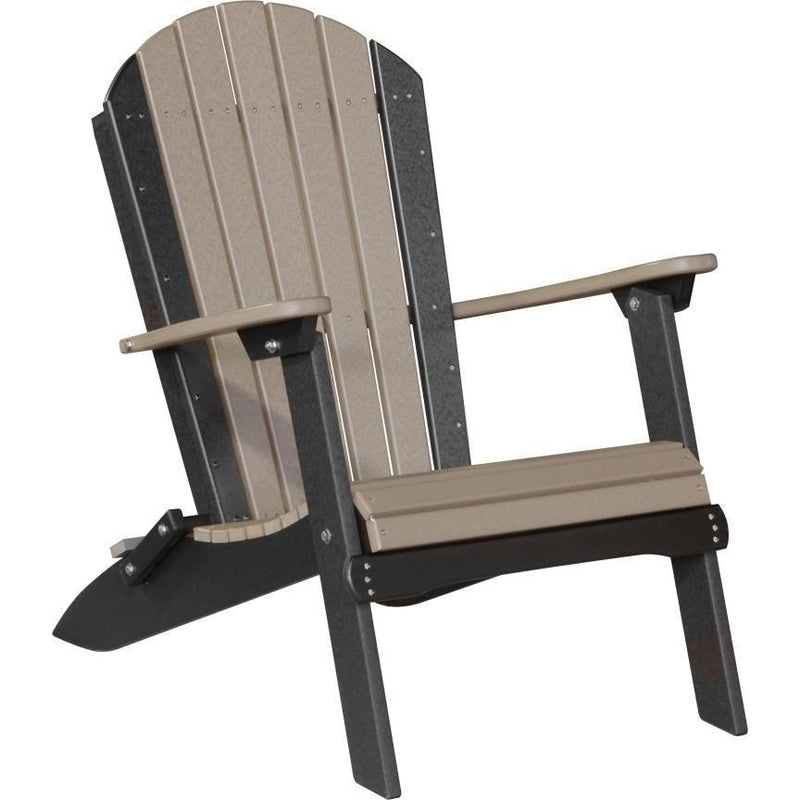 Folding Adirondack Chair Weatherwood & Black