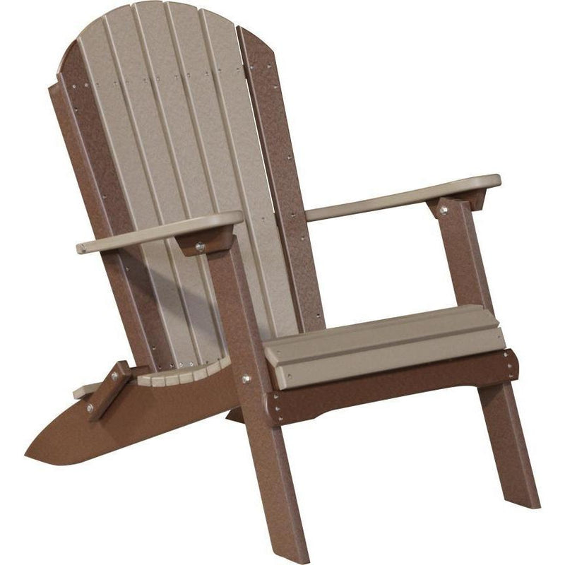 Folding Adirondack Chair Weatherwood & Chestnut Brown