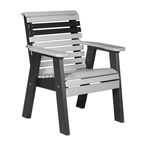 Plain Outdoor Bench Chair Dove Grey & Black