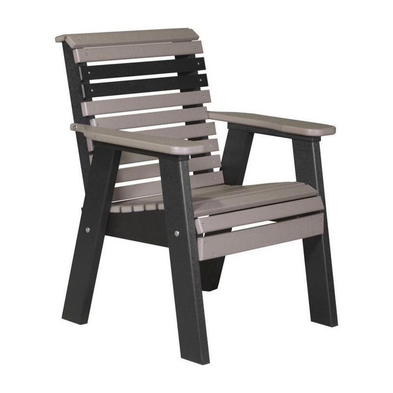 Plain Outdoor Bench Chair Weatherwood & Black